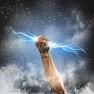 hand clenching lightning