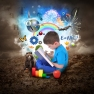 imaginative boy with book