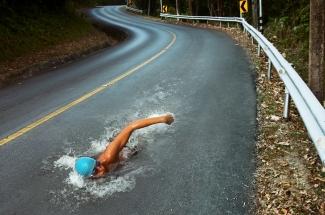 swimming in asphalt